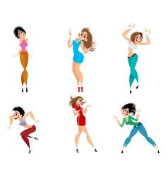 set expressive women vector image