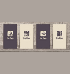 set of business cards on the theme of tea vector image