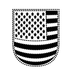 Shield with flag united states of america black vector