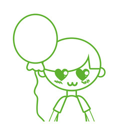 Silhouette cute boy with balloon and hairstyle vector