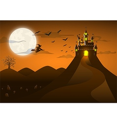 Spooky ghost castle on the hill with full moon vector image
