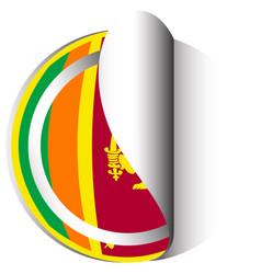 sri lanka flag on round sticker vector image