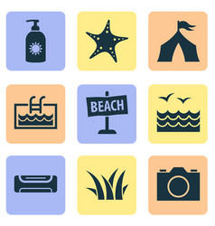 summer icons set with camera air conditioning vector image
