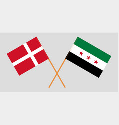 Syrian national coalition and denmark flags vector