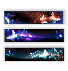 three banners with night butterflies vector image