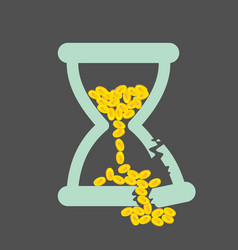Time is money concept with golden coins in a vector