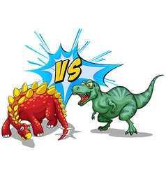 Two dinosaurs fighting on white vector