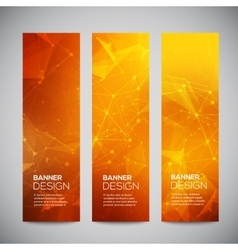 vertical banners set with polygonal vector image