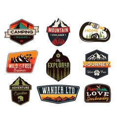 Vintage outdoors logos set hand drawn mountain vector