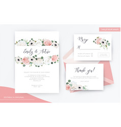 wedding invite rsvp thank you card floral design vector image
