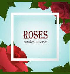 white border frame on blue background with roses vector image
