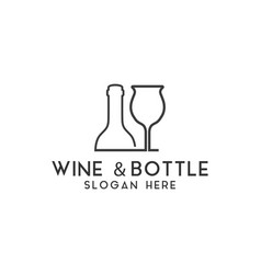 wine bottle logo design template isolated vector image