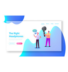 Wireless headphones landing page template young vector