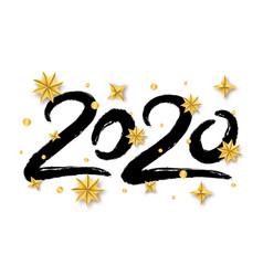 with 2020 hand written lettering golden vector image