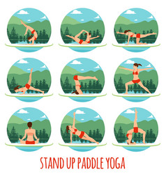 Woman doing stand up paddling yoga on paddle board vector
