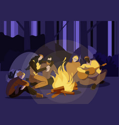 young people sitting around campfire at night time vector image