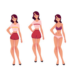 Young slim woman girl in underwear and pajamas vector