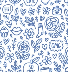 Abstract things doodle seamless pattern vector image vector image