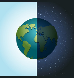 earth night and day nighttime planet in space lot vector image vector image