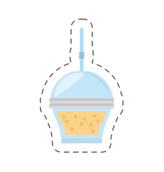 fruit smoothie plastic cup straw cut line vector image vector image