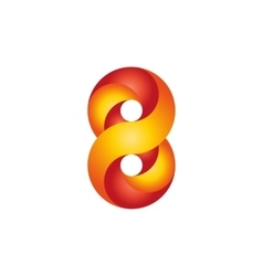Number 8 logo red yellow infinite geometric shape vector image vector image