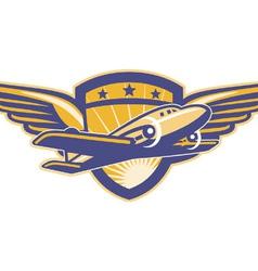 Propeller airplane shield vector