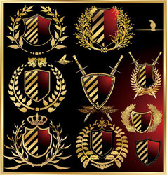 set of the black shields with golden laurel vector image