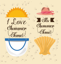 set summer icon over the soft sand vector image