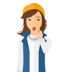 Apathetic young woman yawning vector image vector image
