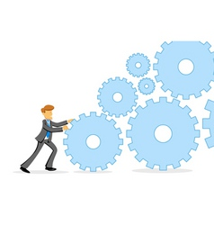 businessman pushing cogs vector image