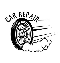 car repair wheel with speed lines design element vector image vector image