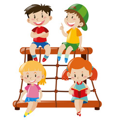 four kids sitting on climbing station vector image