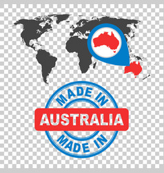 Made in australia stamp world map with red vector