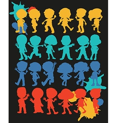 Silhouette boys and girls vector