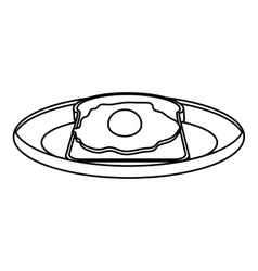 silhouette monochrome of dish with bread and egg vector image vector image