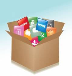 cardboard box web buttons vector image