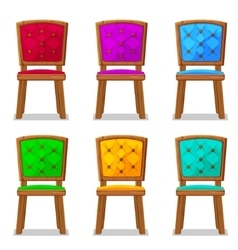 cartoon colorful wooden chair vector image