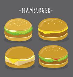 cartoon hamburger character vector image