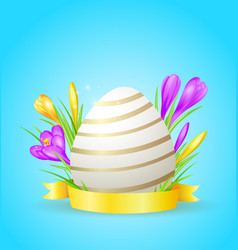 easter card with egg and crocuses vector image vector image