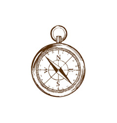 hand drawn of compass in used vector image vector image