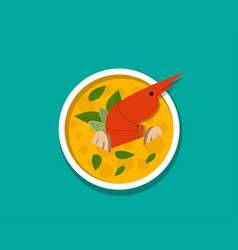 thai shrimp soup - tom yum kung top view vector image vector image