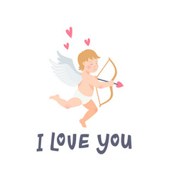 valentines day greeting card with funny cupid with vector image vector image