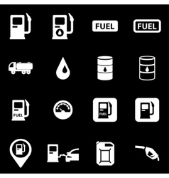 white gas station icon set vector image