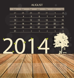 2014 calendar monthly calendar template for August vector image vector image
