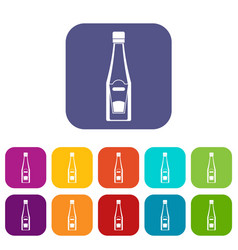 bottle of ketchup icons set flat vector image vector image