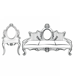 Chair and Sofa furniture set with ornaments vector image vector image