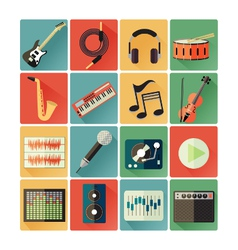 flat icons music vector image vector image