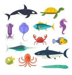 set of sea marine fish and animals vector image