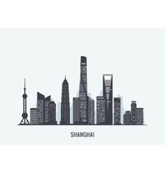 Shanghai skyline silhouette vector image vector image
