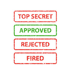 stamp top secret approved rejected and fired vector image vector image